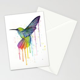 Hummingbird Rainbow Watercolor Stationery Cards