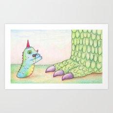 Wormrah the 'giant' monster. Art Print