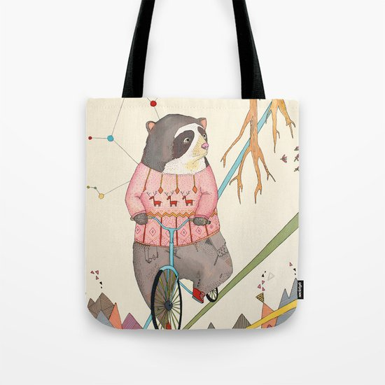 Bear in bicycle Tote Bag
