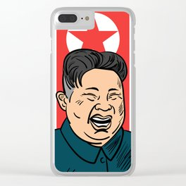 Hand drawn portrait of the smilling leader of North Korea Kim Jong-un. Clear iPhone Case