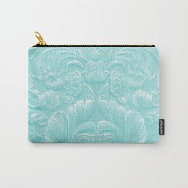 Robin Egg Blue Tooled Leather Carry-All Pouch