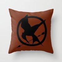mockingjay Throw Pillows featuring Mockingjay by Jessica Wray
