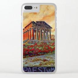 Paestum ancient Greek temple Clear iPhone Case