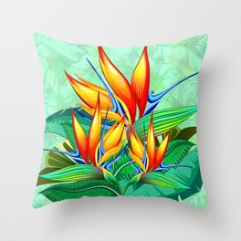 Bird of Paradise Flower Exotic Nature Throw Pillow