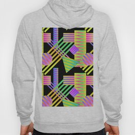 Neon Ombre 90's Striped Shapes Hoody
