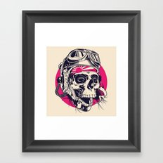Skull with pilot helmet illustration Framed Art Print