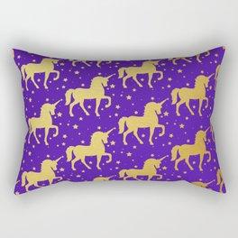 Purple and Gold Unicorn and Stars Pattern Rectangular Pillow
