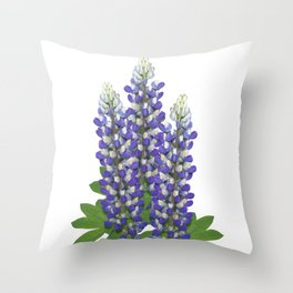 Blue and white lupine flowers Throw Pillow