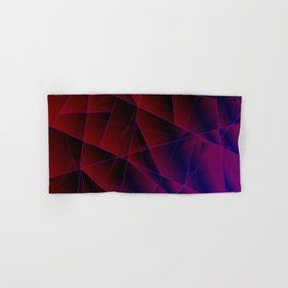 Abstract strict pattern of burgundy and overlapping purple triangles and irregularly shaped lines. Hand & Bath Towel