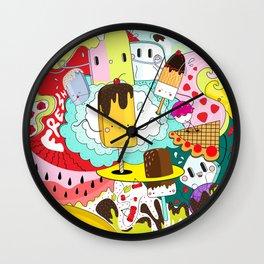 Crazy summer doodleys Wall Clock
