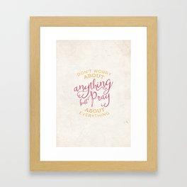 PRAYER OVER WORRY Framed Art Print