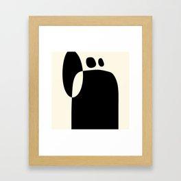 shapes black white minimal abstract art Framed Art Print