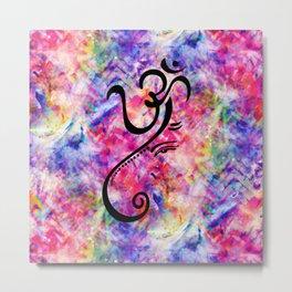 Tie Dye Color Chaos with Om Symbol making Ganesha Metal Print