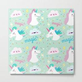 Pop Art unicorn pattern Metal Print