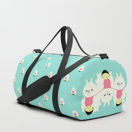 Fat bunny eating noodles pattern Duffle Bag