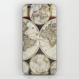 Vintage map of the World 1696 iPhone Skin