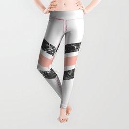 Modern coral black white watercolor chevron marble pattern Leggings
