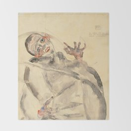 """Egon Schiele """"I Will Gladly Endure for Art and My Loved Ones"""" Throw Blanket"""