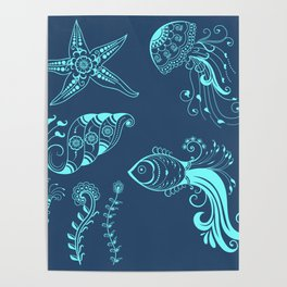 Vector abstract marine creatures in indian mehndi style. Poster