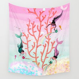 Mermaids' Coral Garden childrens' illustration Wall Tapestry
