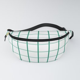 Large Elf Green on White Grid Pattern   Fanny Pack