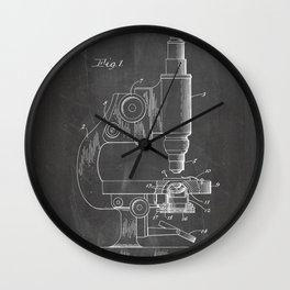 Microscope Patent - Scientist Art - Black Chalkboard Wall Clock