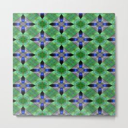 Blue and Green Pattern Metal Print