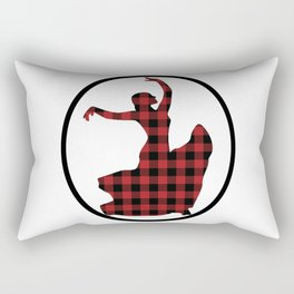 Flamenco Dancer Plaid Circle Rectangular Pillow