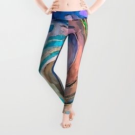 Abstract Waves watercolor abstract Leggings