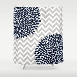 Chevron Floral Modern Navy And Grey Shower Curtain
