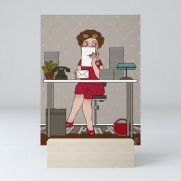 Sixties Secretary hiding behind Paper Mini Art Print