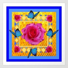 CERULEAN BLUE BUTTERFLIES SPRING PINK ROSES Art Print