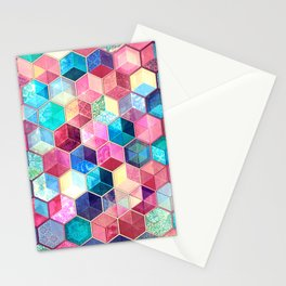 Topaz & Ruby Crystal Honeycomb Cubes Stationery Cards