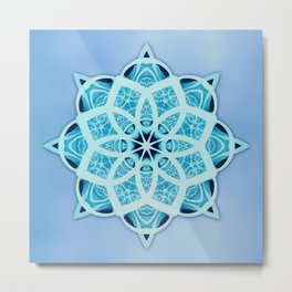 Blue starry snowflake with tribal patterns Metal Print