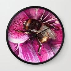 Bee on flower 13 Wall Clock