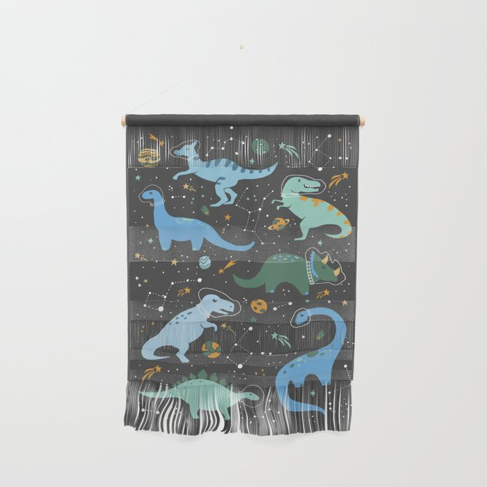 Dinosaurs in Space in Blue Wall Hanging