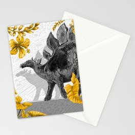 Jurassic Stegosaurus: Gold & Gray Stationery Cards