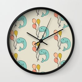 Festive Narwhal Pattern Wall Clock