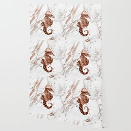 Rose gold seahorse marble Wallpaper