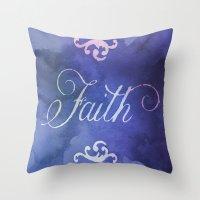 faith Throw Pillows featuring Faith by Camille