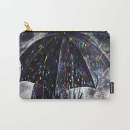 A Hard Rain Is Gonna Fall (Man with Umbrella) Colorful Rain portrait painting Carry-All Pouch