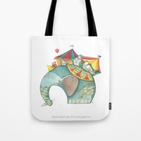 dumbo Tote Bags featuring Dumbo  by One Golden Sun
