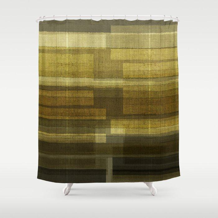 """Burlap Texture Greenery Shades"" Shower Curtain"