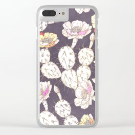 Modern white gold mauve lavender catus floral Clear iPhone Case
