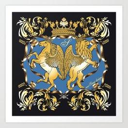 Horse & Leo Royal Blue Art Print