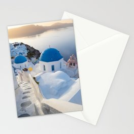 Blue domes of Santorini island during a calm sunrise | Travel photography Greece Stationery Cards