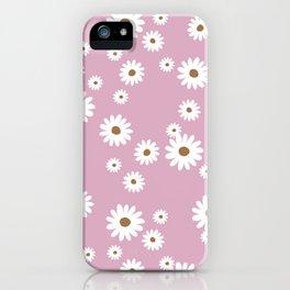 Little minimal boho summer daisy garden soft pink girls iPhone Case