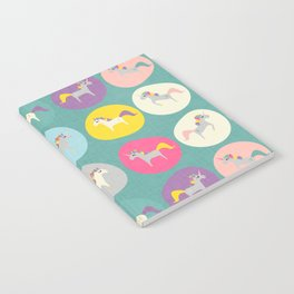 Cute Unicorn polka dots teal pastel colors and linen texture #homedecor #apparel #stationary #kids Notebook