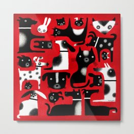 CRITTERS ON RED Metal Print