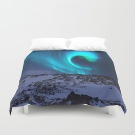 Aurora BorealiS Mountains Duvet Cover